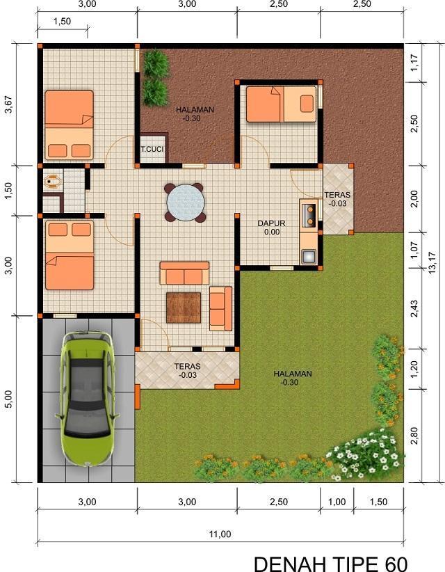 denah rumah type 60 1 lantai 3 kamar tidur