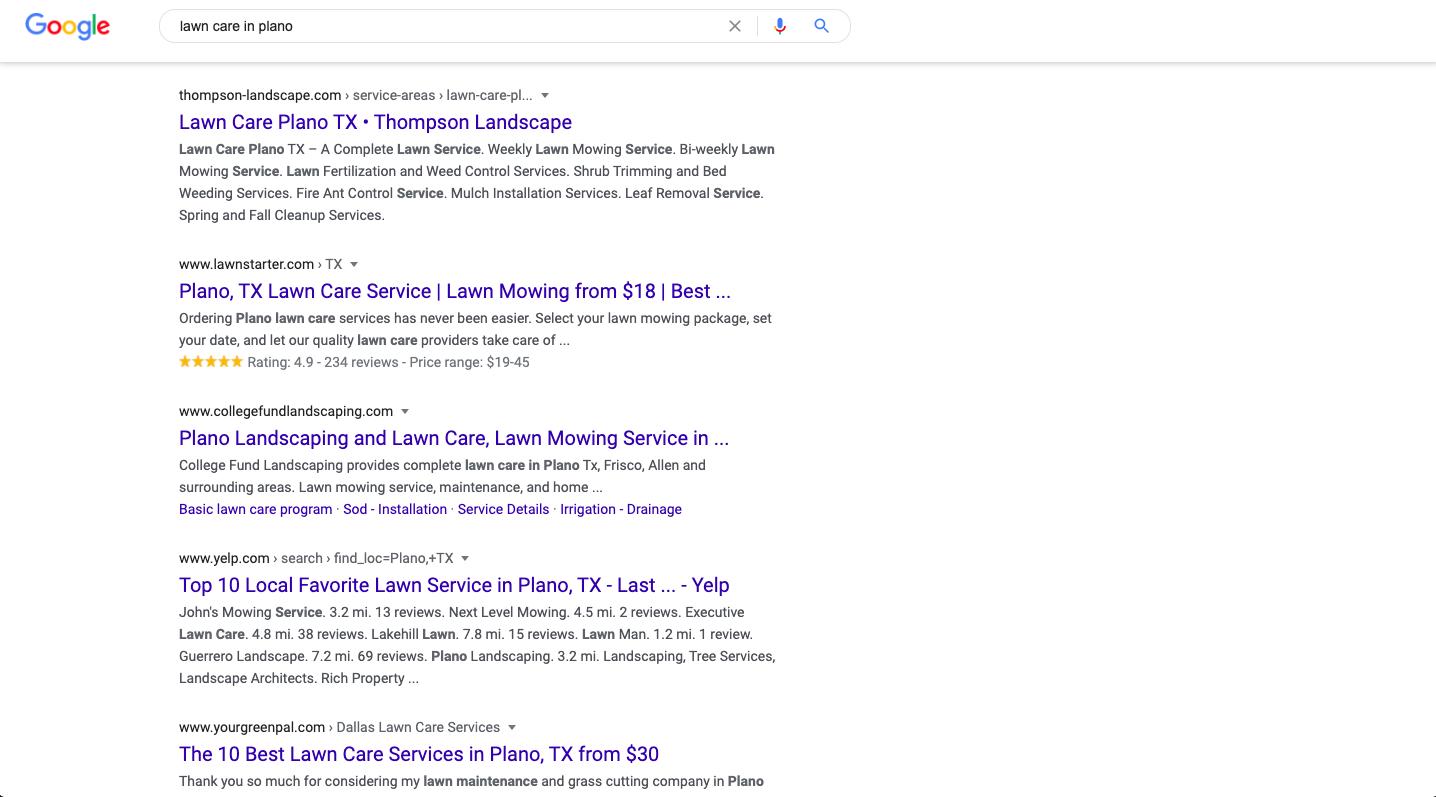 Google Search: Lawn Care in Plano