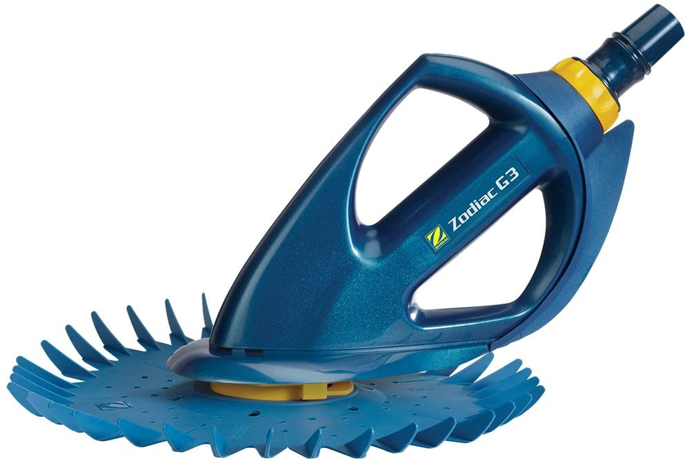 a blue suction pool vacuum with no wheels and a circular suction with spikes on the side of the suction plate