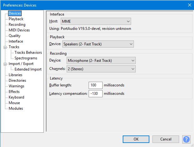 screenshot of Audacity software settings