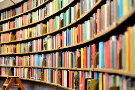 Bookcases packed full of literature books, titles not legible