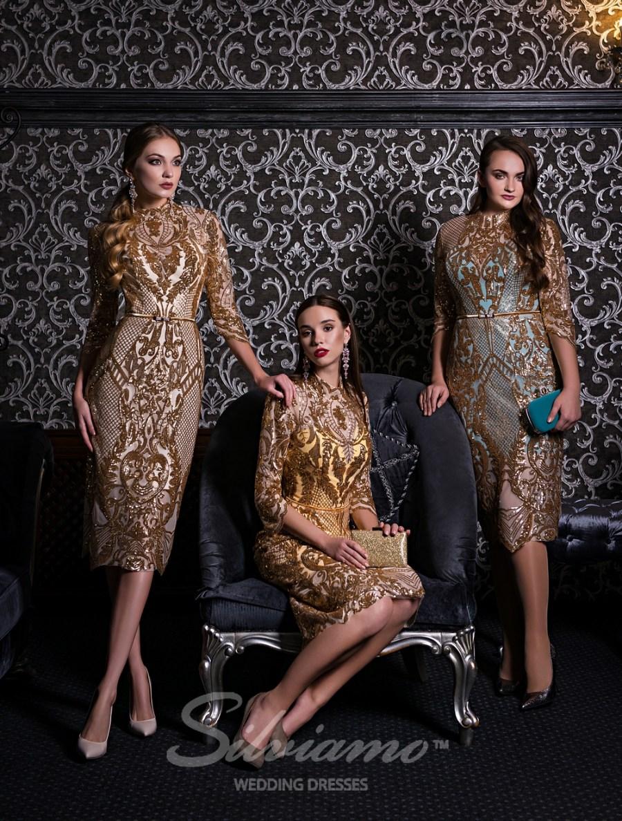 Вечерние платья с рукавами 3/4  оптом от Silviamo