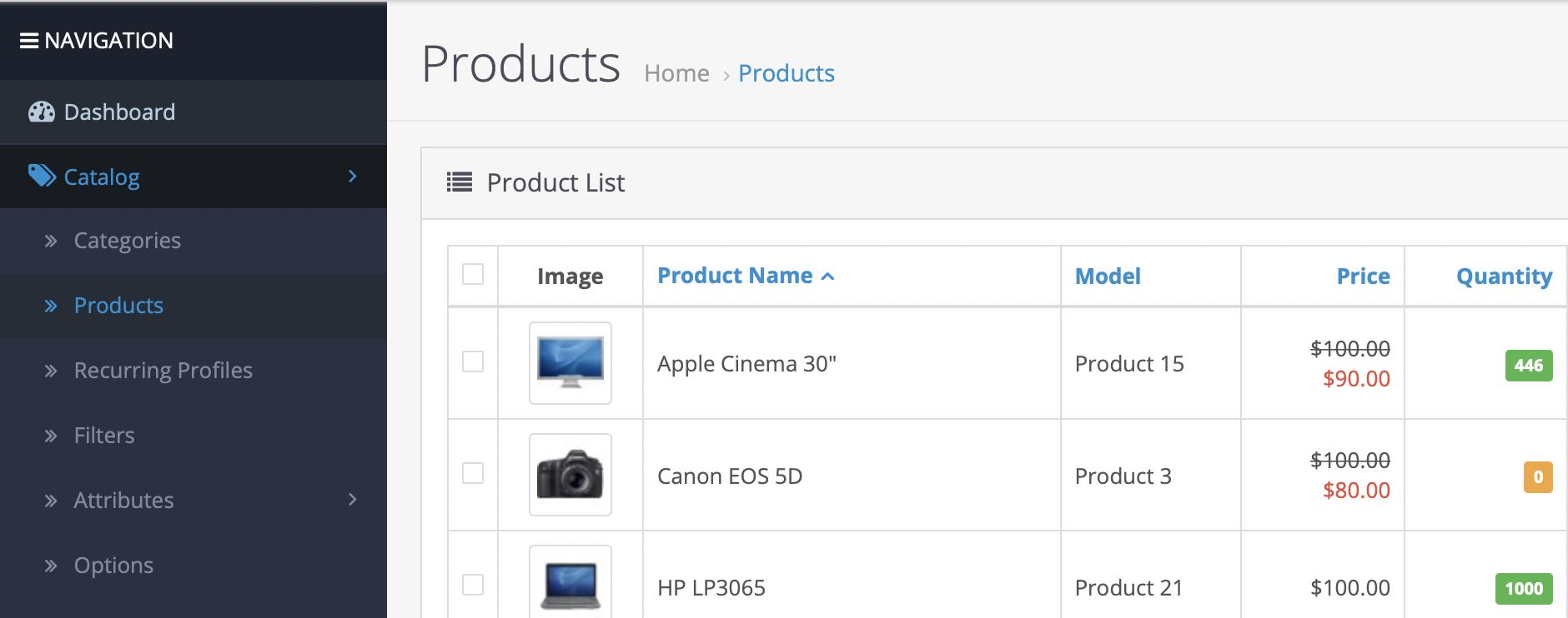OpenCart screen shot