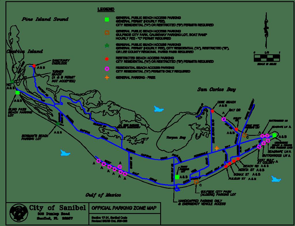 Map of Sanibel Beach Parking