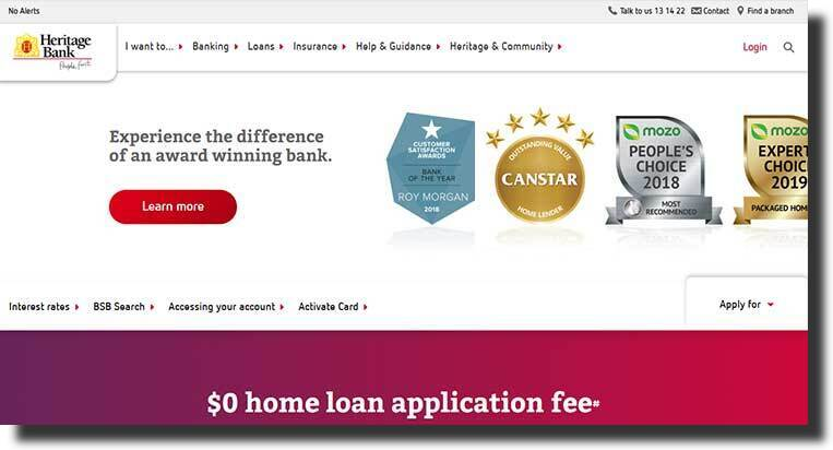 Heritage banking website design