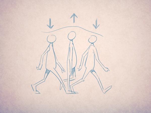 Пример простого цикла ходьбы: тело слегка поднимается вверх в стадии переноса.