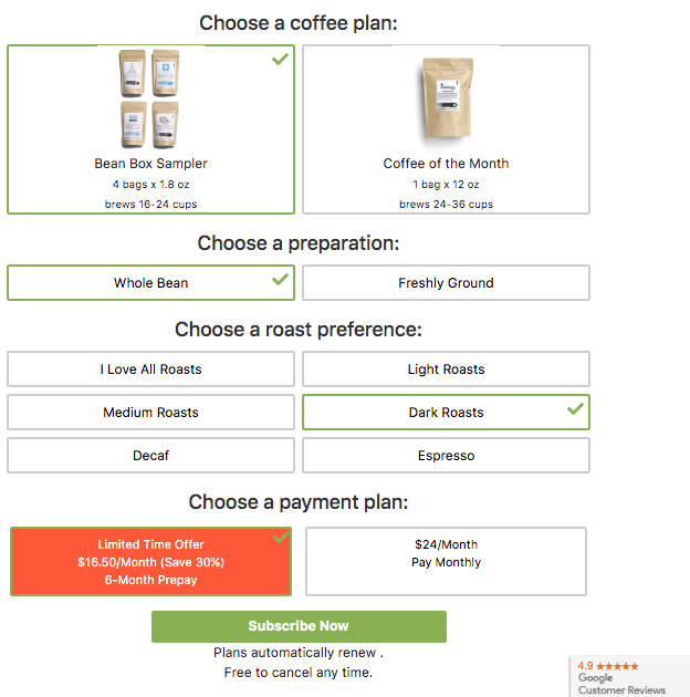 coffee plan order form