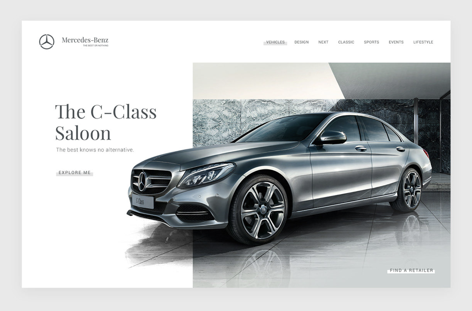 Mercedez C-Class landing page uses a grid layout but the vehicle ignores the grid to draw the users attention.