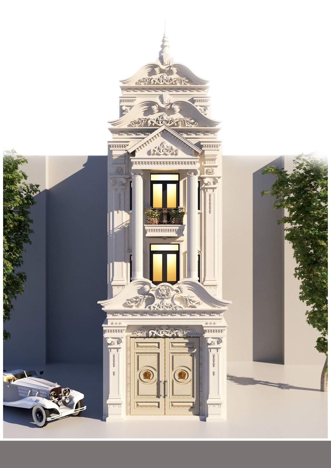 Mẫu nhà 3 tầng 4 phòng ngủ theo phong cách cổ điển