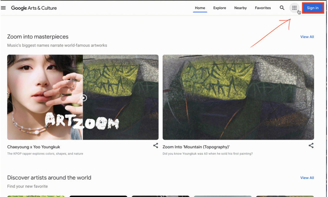 Imagery depicts the homepage for Google Arts and Culture. The Blue Sign-In Button in the top right corner  is highlighted in red.