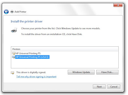 Printer driver hidden share