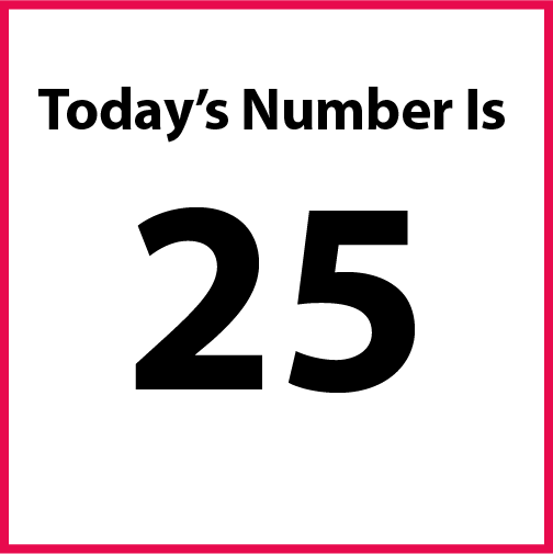 Today's number is: 25