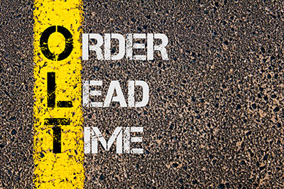 Sign saying Order Lead Time