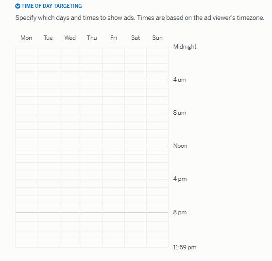 Далее можем настроить расписание показа объявлений (если хотим, чтобы реклама показывалась не круглосуточно)