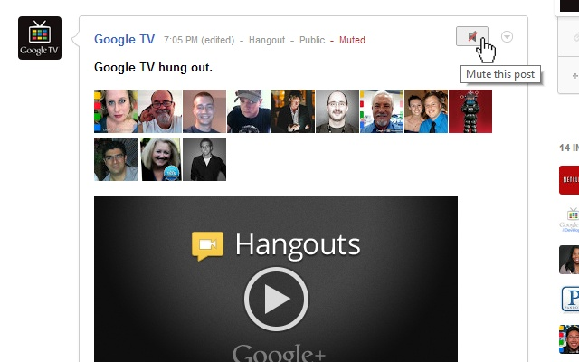 Mute Button for Google+ chrome extension