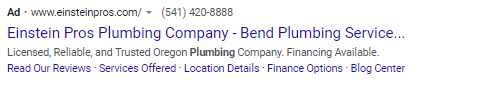 Example of a search campaign ad