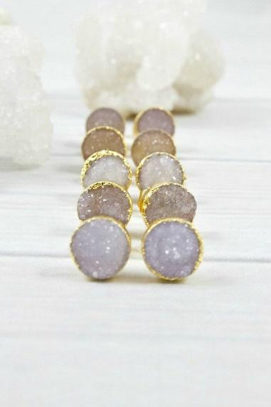 Raw Stone Earrings Druzy Gold Earrings Minimalist Earrings image 0