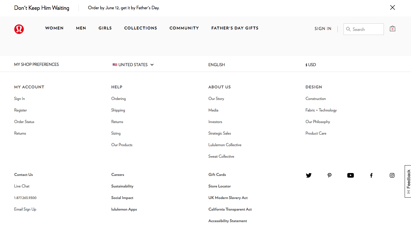 Lululemon's footer design with expansive navigation