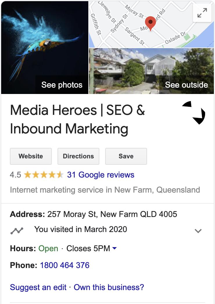 Media Heroes GMB listing