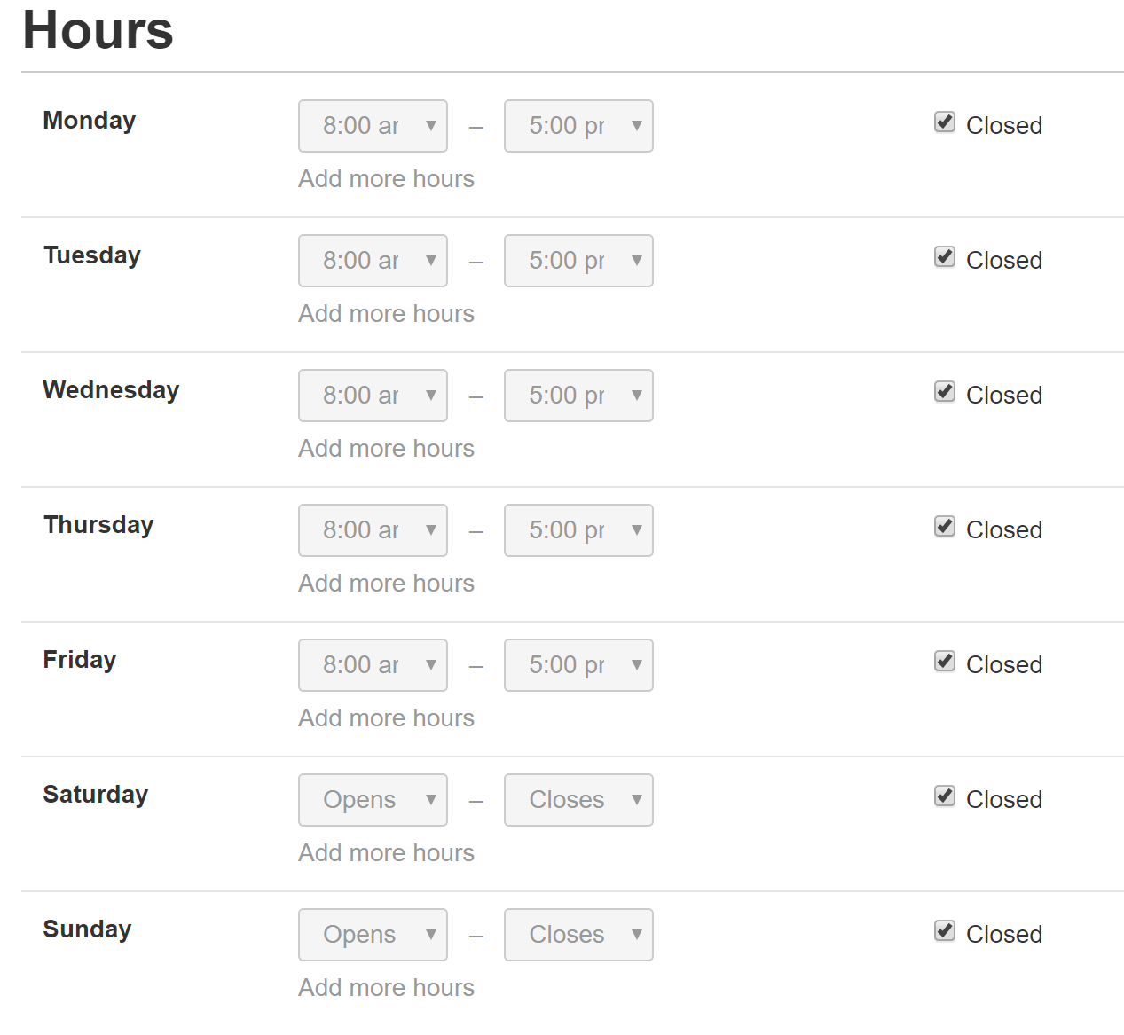 Yelp business hours example