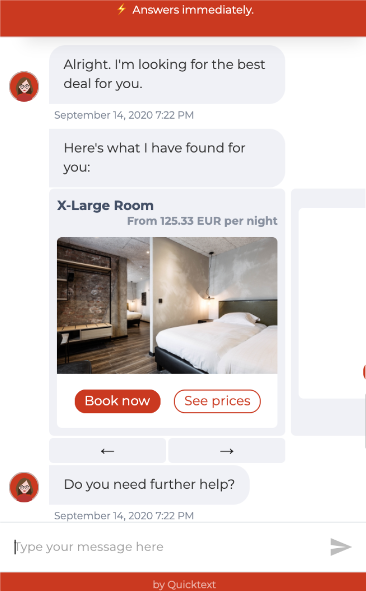 Quicktext Hotel chatbot shows room availabilities and pricing through Neobookings IBE.