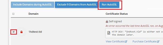 Nhấp vào nút Chạy AutoSSL sau khi chọn hộp bên cạnh (các) tên miền bạn muốn bảo mật