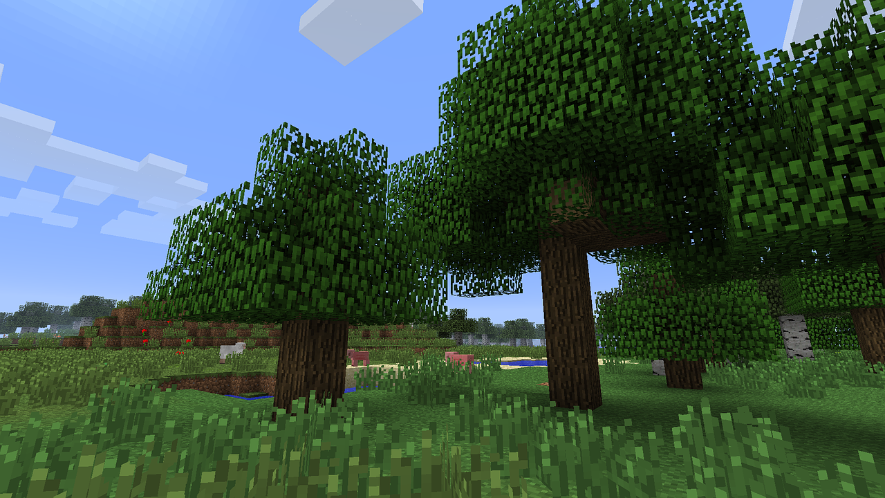 A forest biome in Minecraft. Photo by QuerPolPixel