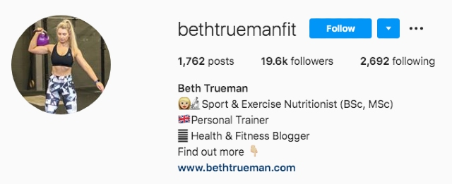 Woman who does fitness on Instagram account image. Example screenshot for passive income through fitness and health tipps.
