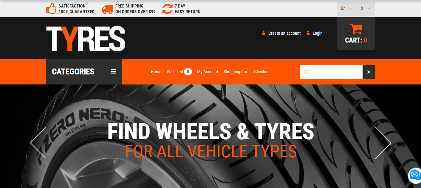 Wheels and Tyres - Opencart ecommerce themes