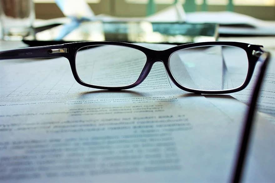 glasses, reading, eyeglasses, eyewear, paper, document, studying, spectacles, work, working, study