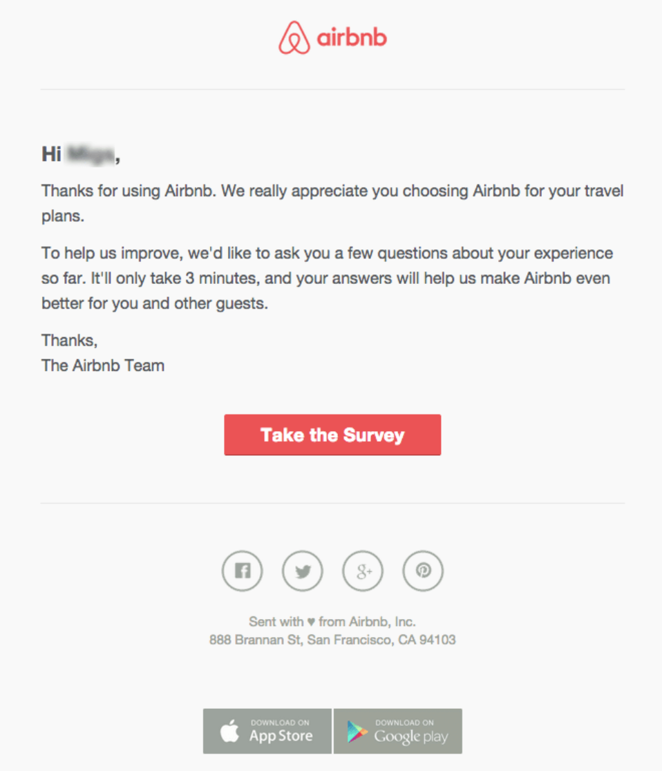 Airbnb Survey E-Mail