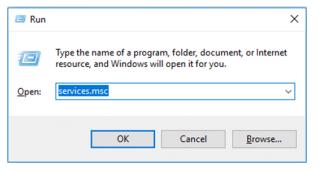 Hit Windows+R & enter services.msc