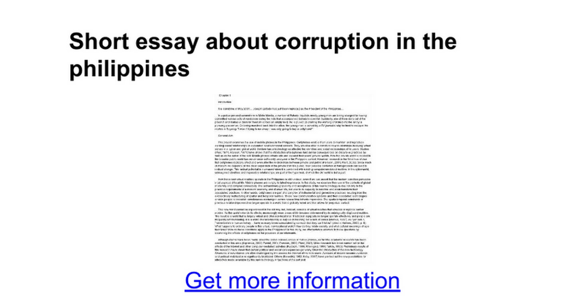 short essay about corruption in the google docs