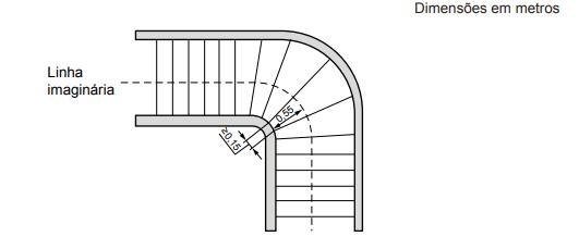 dimensionamento de degraus em escadas com lances curvos