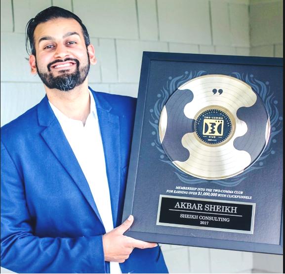 Akbar Sheikh two comma club award