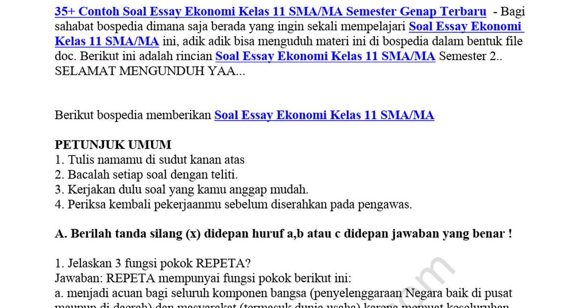 Contoh Soal Essay Ekonomi Kelas Xi Semester 2 - Contoh ...