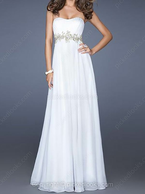Chiffon Sweetheart Floor-length Empire Beading Prom Dresses #PLS02060430