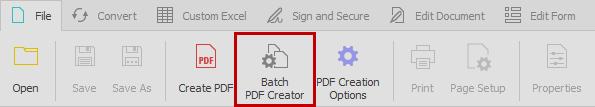 Opening batch PDF creator