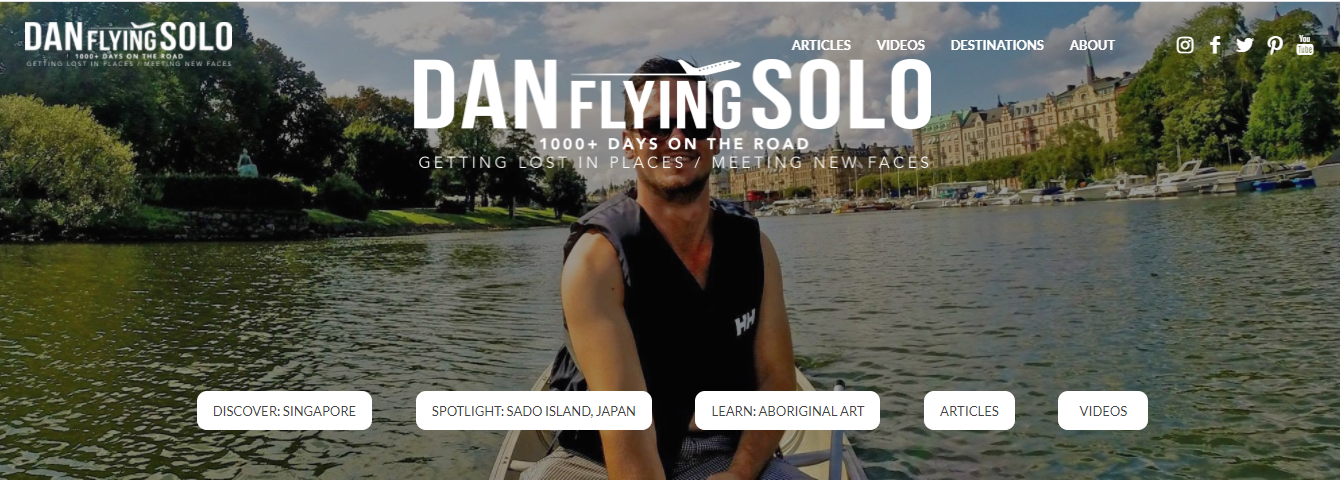 Dan flying solo - The best lifestyle solo travel blogger to follow
