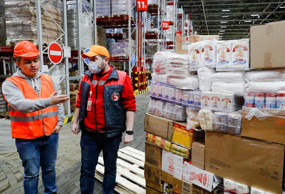 Distribution centre of Pyaterochka retail chain in Podolsk outside Moscow