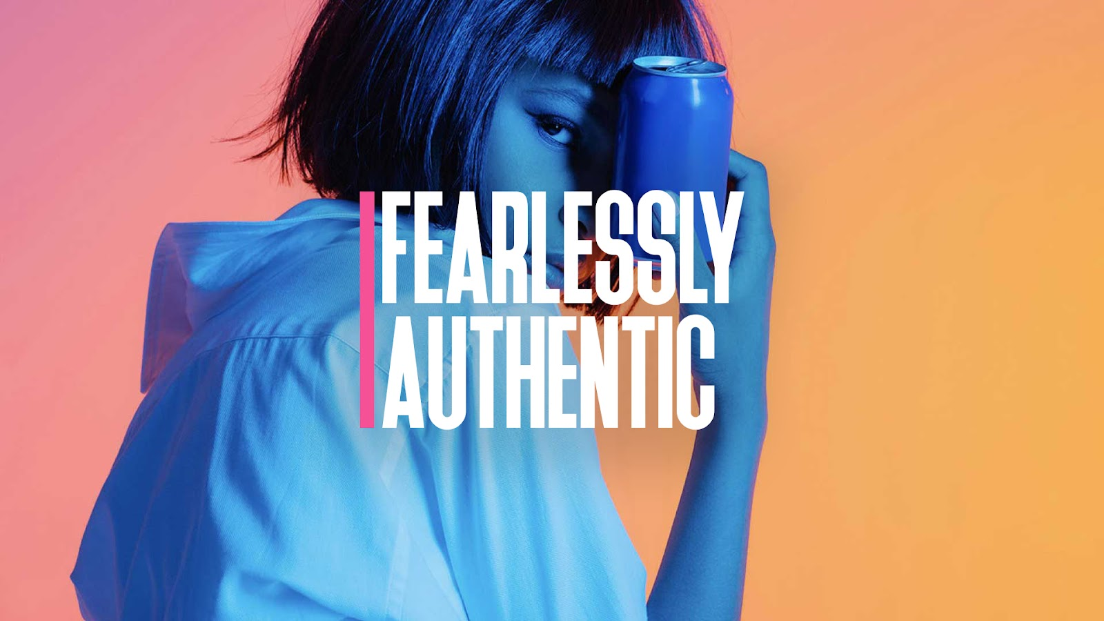 Woman Holding Can labeled Fearlessly Authentic