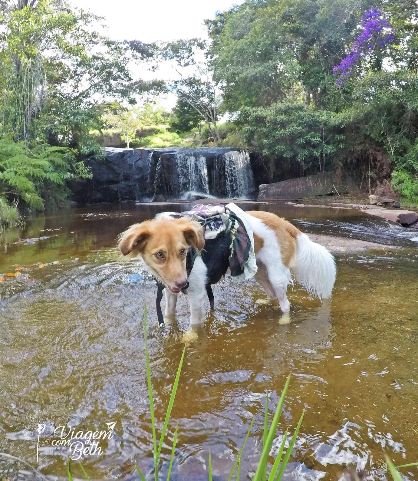 Nina curtindo a Cachoeira do Humaitá