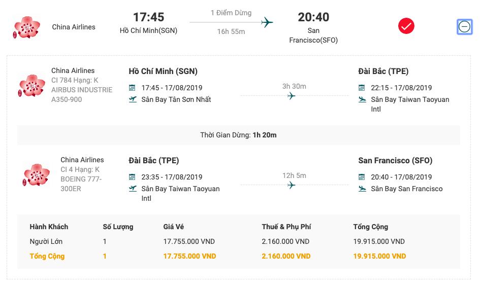 Vé máy bay từ Sài Gòn đi San Francisco của China Airlines  .
