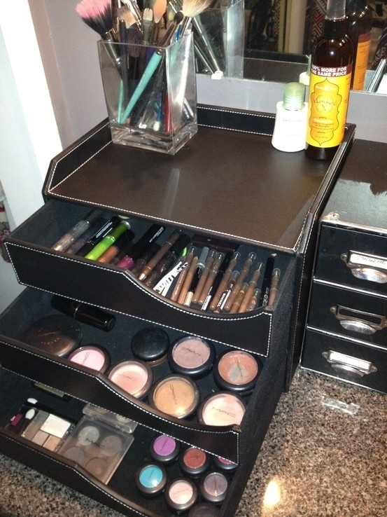 Desk organizers are a great way to organize your makeup!