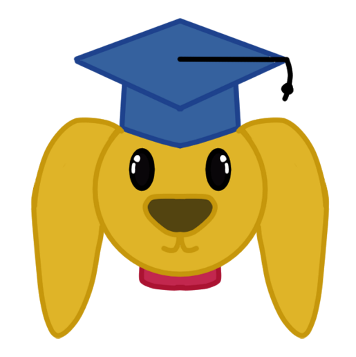 dog with graduation cap and red collar training schedule calendar date sticker.