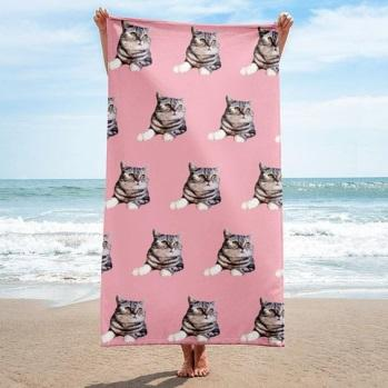Personalized Pet Photo Beach Towel, Pet Lover Gift, Large Beach Towel, Custom Pet Beach Towel From Photo, Unique Birthday Gift, Kawaii Gift