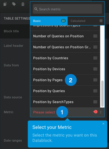 google search console position by pages metric in databox