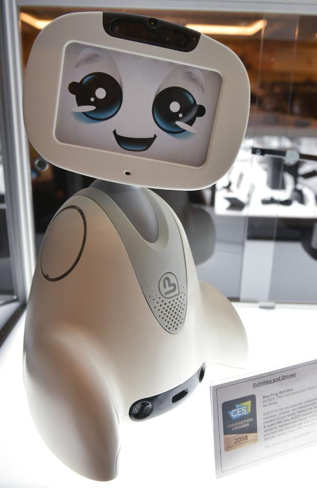 The Buddy companion robot by Blue Frog Robotics is seen at the CES 2018 Innovation Adwards Showcase. Picture: AFP