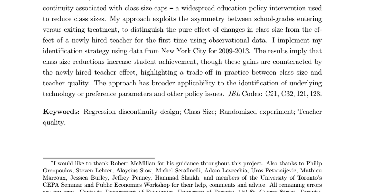 "effects of reducing class size essay Class size reduction essays  ""70 percent of adults believe that reducing class size would lead to  on class size and the effects on teaching and."
