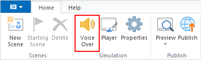 Click Voice Over on the upper left corner on the ribbon.